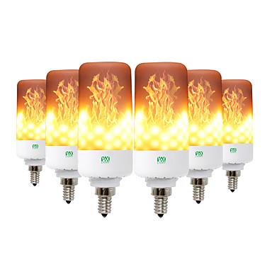 ywxlight® 6pcs δημιουργικές 3 λειτουργίες φώτα φλόγας e26 / e27 e12 e14 b22 οδήγησε επίδραση φλόγας λάμπα πυρκαγιάς 5w λυχνία φωτισμού εξομοίωσης λάμψης 5w