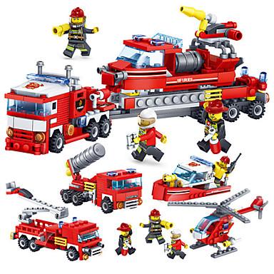 Kocke za slaganje Građevinski set igračke Poučna igračka 4 pcs kompatibilan Legoing Ručno izrađeni Interakcija roditelja i djece Vatrogasna kola Sve Dječaci Djevojčice Igračke za kućne ljubimce Poklon