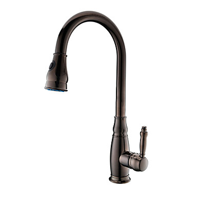 Kökskran - Ett hål Oljeaktig Brons Utdragbar / Pull-down Horisontell montering Antik Kitchen Taps / Mässing / Singel Handtag Ett hål