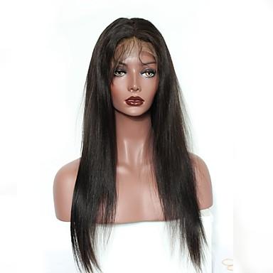 Äkta hår Spetsfront Peruk stil Brasilianskt hår Rak Naturlig Peruk 130% Hårtäthet Naturlig hårlinje Afro-amerikansk peruk Till färgade kvinnor Dam Korta Mellan Lång Äkta peruker med hätta Dolago