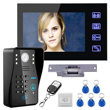 povoljno Zaštita i sigurnost-ožičeni 7 inčni handsfree uređaj jedan na jedan video domofon zvonca 960 * 480 interfon sustav kompleta električni štrajk zaključavanje bežični daljinski upravljač otključavanje daljinski upravljač za