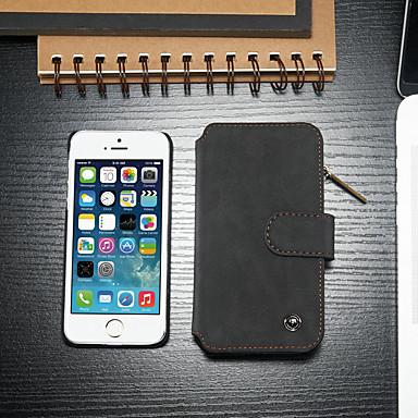 povoljno iPhone maske-Θήκη Za Apple iPhone SE / 5s / iPhone 5 Utor za kartice / sa stalkom / Zaokret Korice Jednobojni Tvrdo PU koža