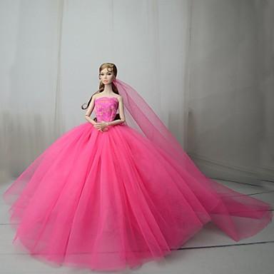 voordelige Poppenaccessoires-Poppenjurk Jurken Voor Barbie Fuchsia Tule Kant Katoenmix Kleding Voor voor meisjes Speelgoedpop
