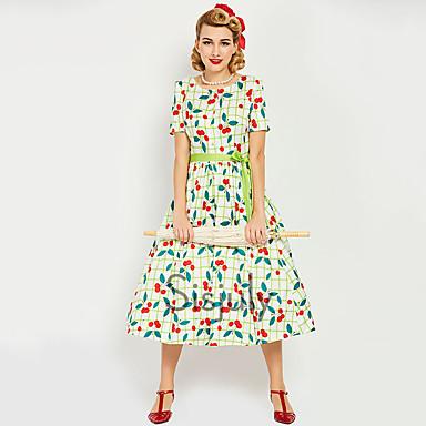 Audrey Hepburn Retro / vintage 1950-te 1960 Osa struka Haljine Žene Kostim Obala Vintage Cosplay Maturalna zabava Dugih rukava Dužina kratkih hlača / Haljina / Haljina
