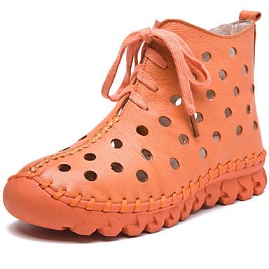Žene Čizme Ravna potpetica Okrugli Toe Mekana koža Čizme gležnjače / do gležnja Vintage / Ležerne prilike Proljeće & Jesen Crn / Lila-roza / žuta