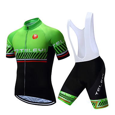 TELEYI Men s Short Sleeve Cycling Jersey with Bib Shorts - White Black  Stripes Bike Clothing Suit Breathable Quick Dry Sports Polyester Stripes  Mountain ... 017559e04