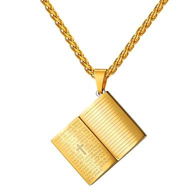 povoljno Modne ogrlice-Muškarci Ogrlice s privjeskom Klasičan Kereszt Klasik vjera Tikovina Zlato Crn Plava 55 cm Ogrlice Jewelry 1pc Za Dar Dnevno