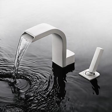 Kupaonica Sudoper pipa - Waterfall / Slavine s tri otvora / New Design Slikano završi Slavine s tri otvora Jedan obrađuju dvije rupeBath Taps