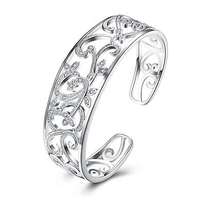 Γυναικεία Λευκό Cubic Zirconia Χειροπέδες Βραχιόλια Χαραγμένο κυρίες Μοντέρνα Χαλκός Βραχιόλι Κοσμήματα Ασημί Για Δώρο Καθημερινά