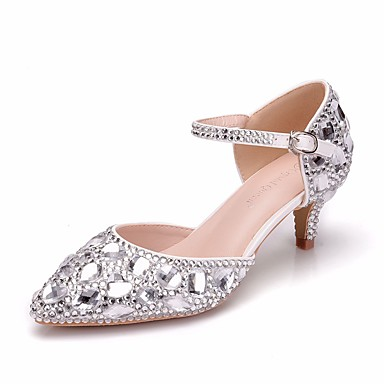 59ed3787ed5 Women s PU(Polyurethane) Spring   Summer Sweet Wedding Shoes Kitten Heel  Pointed Toe Rhinestone   Crystal   Buckle Silver 7074557 2019 –  49.99