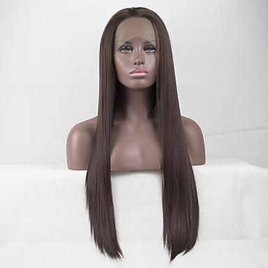 Prednja perika od sintetičkog čipke Ravan kroj Slobodni dio Lace Front Perika Dug Chestnut Brown Sintentička kosa 18-26 inch Žene Čipka Otporan na toplinu Elastičan Smeđa