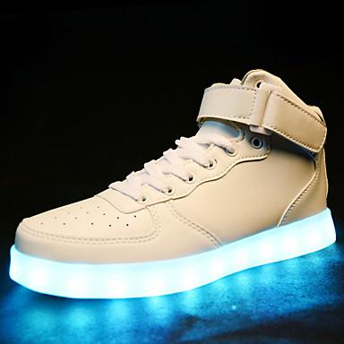 Homens Sapatos Confortáveis Couro Ecológico Outono & inverno Esportivo / LED / Casual Tênis Preto / Branco / Ao ar livre