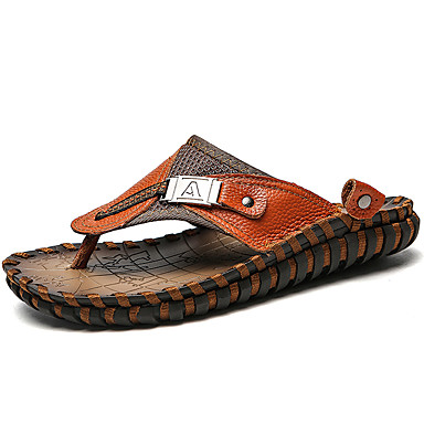 Homens Sapatos Confortáveis Pele Napa Verão / Primavera Verão Clássico / Casual Chinelos e flip-flops Respirável Preto / Marron