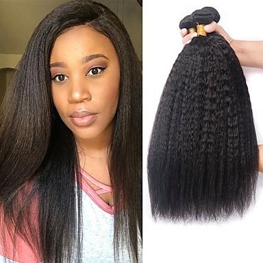 4 paketića Brazilska kosa Kinky Ravno Ljudska kosa Wig Accessories Ljudske kose plete Styling kose 8-28 inch Prirodna boja Isprepliće ljudske kose Nježno Svilenkast Smooth Proširenja ljudske kose