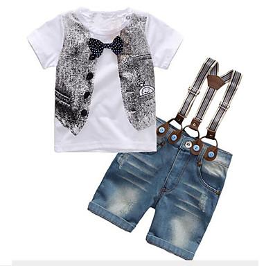 povoljno Odjeća za dječake-Djeca Dječaci Aktivan Ulični šik Dnevno Izlasci Print Mašna Kratkih rukava Regularna Komplet odjeće Obala