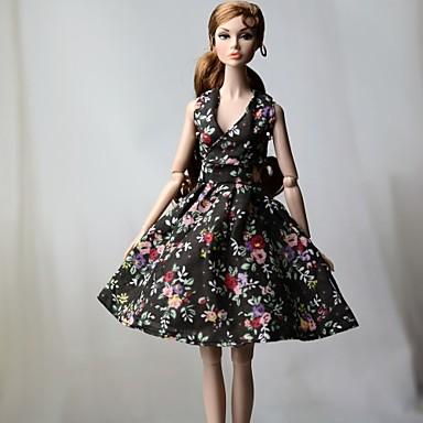 levne Doplňky pro panenky-Šaty pro panenky Šaty Pro Barbie Květinový Květiny Černá Látka Bavlněné tkaniny Není tkané Šaty Pro Dívka je Doll Toy