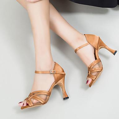 povoljno Cipele za ples-Žene Plesne cipele Saten Cipele za latino plesove Kopča Sandale / Tenisice Tanka visoka peta Moguće personalizirati Braon / Seksi blagdanski kostimi / Koža / EU37