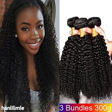 3 paketa Kinky Curly Ljudska kosa Netretirana  ljudske kose Headpiece Ljudske kose plete Styling kose 8-28 inch Prirodna boja Isprepliće ljudske kose novorođenče Najbolja kvaliteta Lijep Proširenja