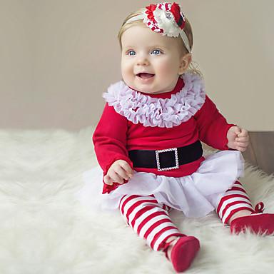 povoljno Odjeća za bebe-Dijete Djevojčice Aktivan / Osnovni Božić / Praznik Jednobojni / Božić Mašna / Mrežica Dugih rukava Regularna Pamuk Komplet odjeće Red / Dijete koje je tek prohodalo