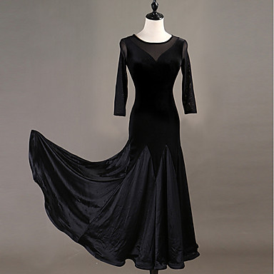 Ballroom Dance الفساتين نسائي التدريب عصا ساتان / مخمل متدرجة كم طويل ارتفاع عال فستان