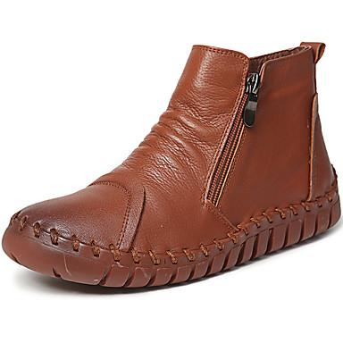 Žene Čizme Ravna potpetica Mekana koža Čizme gležnjače / do gležnja Vintage / Ležerne prilike Jesen zima Crn / Braon / Burgundac