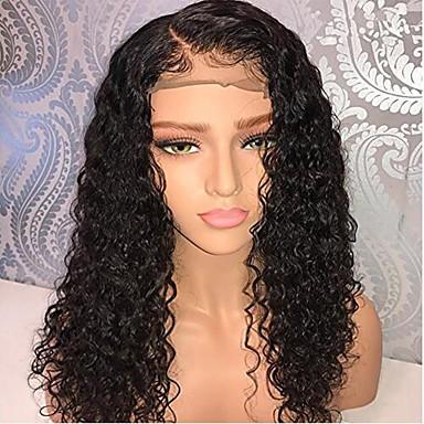 Ljudska kosa Lace Front Perika Bob frizura Kratak Bob Rihanna stil Brazilska kosa Kovrčav Crna Perika 130% Gustoća kose s dječjom kosom Prirodna linija za kosu Za crnkinje 100% Djevica 100% rađeno