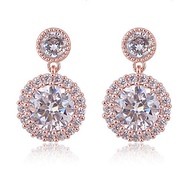levne Dámské šperky-Bílá Klasika Náušnice - Zirkon, S925 Sterling Silver Diamant Evropský, minimalistický styl, Módní Zlatá / Stříbrná Pro Večírek Rande Dámské / 1 Pair