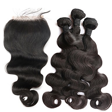 povoljno Ekstenzije od ljudske kose-3 paketi s zatvaranjem Brazilska kosa Tijelo Wave Ljudska kosa Netretirana  ljudske kose tkati Kosa potke zatvaranje 10inch-26inch Natural Isprepliće ljudske kose Odor Free Nježno Za crnkinje