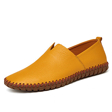 cheap Men's Slip-ons & Loafers-Men's Leather Shoes Leather Spring &  Fall Loafers & Slip-Ons Black / White / Yellow