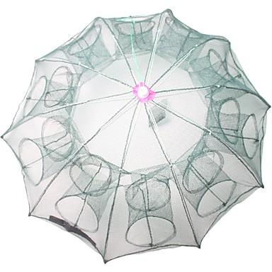 preiswerte Fischnetze-Faltendes Regenschirm-Fischen-Krabben-Garnelen-Fallen-Netz 0.65 m Nylon 3*3 mm Tragbar Faltbar Leichte Bedienung