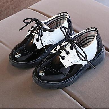 preiswerte Schuhe für Kinder-Jungen Komfort PU Outdoor Kleinkind (9m-4ys) / Kleine Kinder (4-7 Jahre) / Große Kinder (ab 7 Jahren) Schnürsenkel Weiß / Schwarz Frühling & Herbst