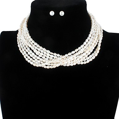 levne Dámské šperky-Sladkovodní perla Moderní styl Sady šperků - Perly Blahoslavený minimalistický styl, Módní, Elegantní Bílá Pro Párty Večírek Dámské