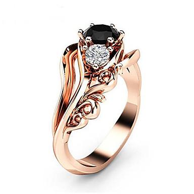 billige Motering-Dame Ring Kubisk Zirkonium 1pc Rose Gull Messing Geometrisk Form damer Mote Daglig Aftenselskap Smykker Klassisk Flower Shape Smuk