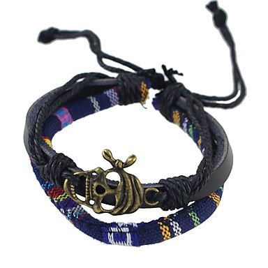 levne Dámské šperky-Dámské Kožené náramky Plaited Lebka dámy Základní Módní PU kůže Náramek šperky Modrá Pro Denní Škola