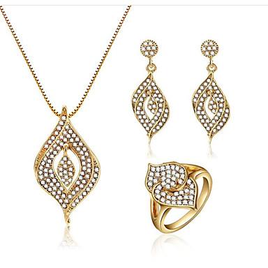 Žene Bijela Kubični Zirconia Svadbeni nakit Setovi Klasičan dame Moda Pozlaćeni Naušnice Jewelry Zlato Za Party Svečanost 1set
