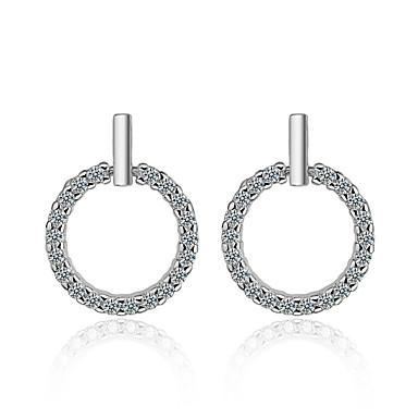 levne Dámské šperky-Bílá Bezešvá Náušnice - Zirkon, S925 Sterling Silver Diamant minimalistický styl, Sladký, Elegantní Stříbrná Pro Párty Dar Dámské / 1 Pair