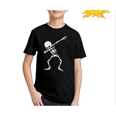 cheap Boys' Tops-Kids Boys' Street chic Print Short Sleeve Regular Tee Black