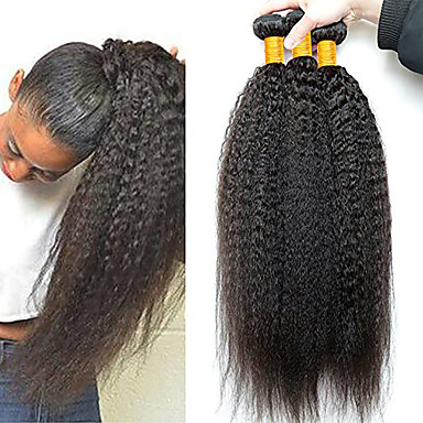 3 paketa Peruanska kosa Yaki Straight Ljudska kosa Netretirana  ljudske kose Ljudske kose plete Produžetak Bundle kose 8-28 inch Prirodna boja Isprepliće ljudske kose Nježno Novi Dolazak Rasprodaja