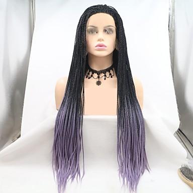 Prednja perika od sintetičkog čipke pletena Stepenasta frizura Lace Front Perika Dug Crna / Purple Sintentička kosa 24 inch Žene Žene Crna Ljubičasta Sylvia