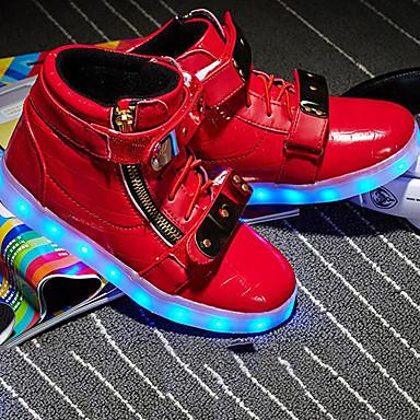 Dječaci LED / Svjetleće tenisice PU Sneakers Mala djeca (4-7s) / Velika djeca (7 godina +) Patent-zatvarač / Mat selotejp Crn / Obala / Crvena Jesen zima / Guma