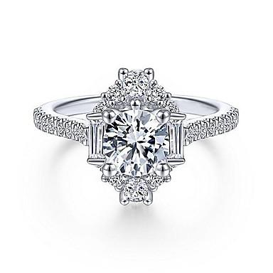 billige Motering-Dame Ring Syntetisk Diamant 1pc Hvit Kobber Geometrisk Form Unikt design Fest Gave Smykker geometriske HALO Pave Kul Smuk
