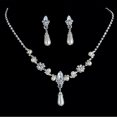 Žene Svadbeni nakit Setovi Teniski lanac Ispustiti Stilski Jednostavan Europska Imitacija bisera Umjetno drago kamenje Naušnice Jewelry Pink Za Dnevno Spoj 1set