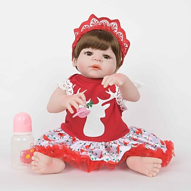 FeelWind Autentične bebe Djevojka lutka Za ženske bebe 22 inch Silikon Vinil - vjeran Ručno Izrađen Slatko Sigurno za djecu Djeca / Teen Non Toxic Dječjom Uniseks Igračke za kućne ljubimce Poklon