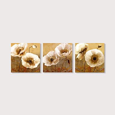 povoljno Ukrašavanje zidova-Print Stretched Canvas Prints - Mrtva priroda Cvjetni / Botanički Moderna Tri plohe Umjetničke grafike