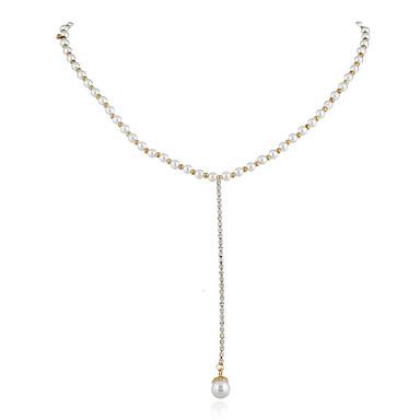 povoljno Modne ogrlice-Žene Y Ogrlica Ogrlica od perla Klasičan Korejski Žica Biseri Zlatni biser Obala 40 cm Ogrlice Jewelry 1pc Za Ulica