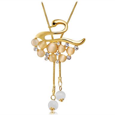 levne Dámské šperky-Dámské Zlatá Kočičí oko Chrysoberyl Náhrdelníky s přívěšky Foxtail řetězec Labuť Luxus Klasické Elegantní Pozlacené Chrome Umělé diamanty Zlatá 66 cm Náhrdelníky Šperky 1ks Pro Denní Večerní oslava