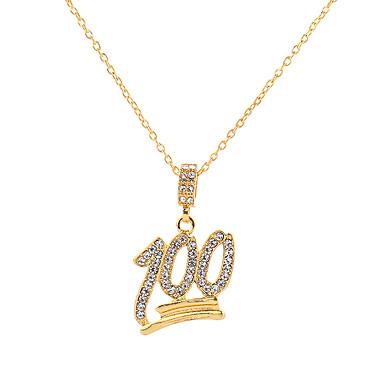 Muškarci Kubični Zirconia Ogrlice s privjeskom Klasičan Slovo pomodan Rock Hip-hop Krom Imitacija dijamanta Zlato 61 cm Ogrlice Jewelry 1pc Za Klub Jabuka
