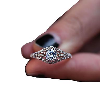 billige Motering-Dame Ring Syntetisk Diamant 1pc Hvit Kobber Geometrisk Form Luksus Unikt design Fest Gave Smykker Klassisk filigran Blomst Kul Smuk