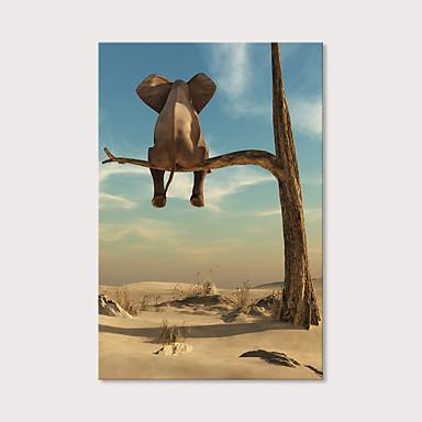 povoljno Printevi-Print Stretched Canvas Prints - Životinje Photographic Moderna Umjetničke grafike