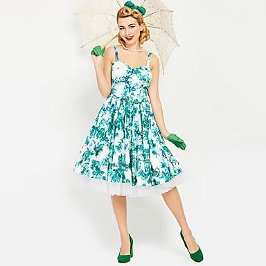 3499 Audrey Hepburn Chica De Campo Floral Retro Vintage Años 60 De Cintura De Avispa Vestidos Falda Overol Jsk Mujer Disfraz Verde Cosecha